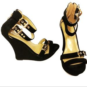 Delicacy Black Ankle Wedge Strappy Heels 10